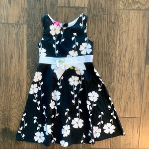 Girls Black & White Floral Dress